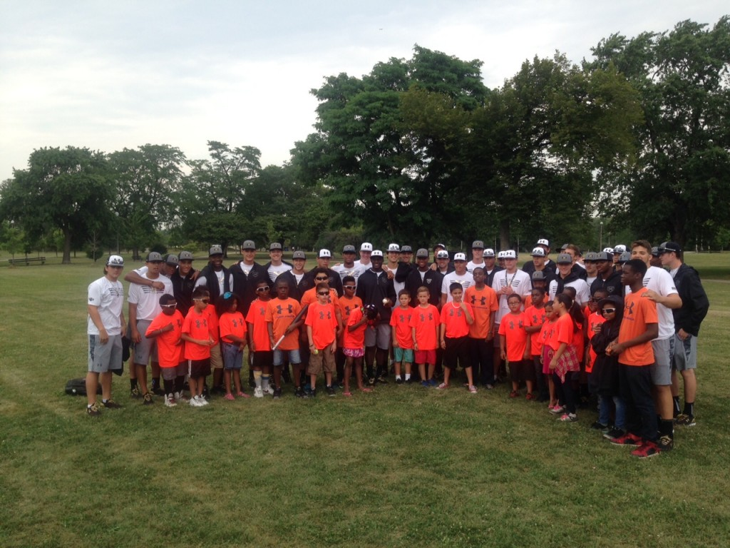 Players joined youths from the Boys & Girls Club for a community outreach program.