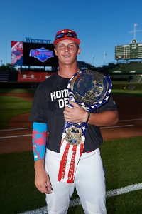 Gorman wins the HR Derby and sports the championship belt.