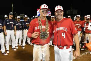 Under Armour All-American Game MVP Bobby Witt Jr with Baseball Factory's Steve Bernhardt (Mike Janes/Four Seam Images)