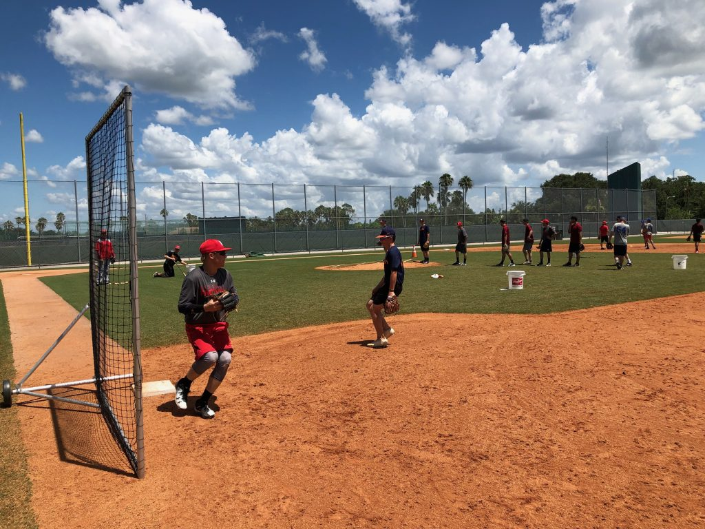 Mackey during infield drills at Pirate City
